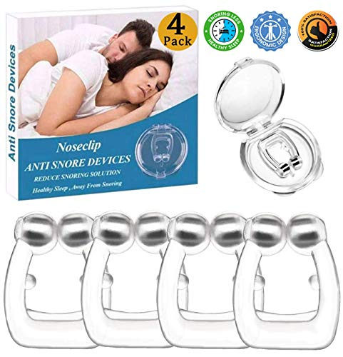 Silicone Magnetic Anti Snore Clip Stop Snoring Nose Device Snore Stopper Anti Snoring Devices Sleeping Aid Nature Relieve Snore for Men Women (4 Pack)