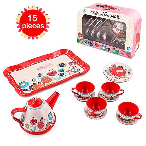 Teeservice Kinder Spielküche Kinderküche Zubehör - Metall Kaffeeservice Tee Set Spielzeug mit Koffer Geschirr Küchenspielzeug Puppengeschirr Spielzeuggeschirr Küchengeschirr Spielgeschirr Rollenspiel