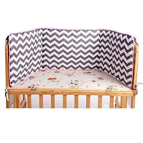 Lily&her friends - Rideau de lit pour bébé fille et garçon, rideaux de lit superposé, ensemble de lit de bébé, surface 100 % coton et impression (rayures).