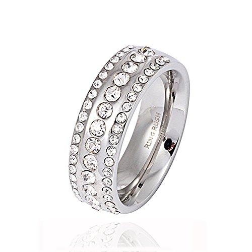 Akki, anello da donna in acciaio inox Rush, con strass, colore: argento, oro, larghezza della pietra: M/19