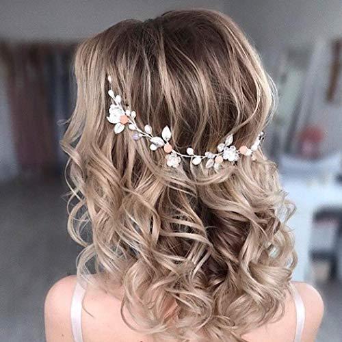 Unicra Braut Hochzeit Haar Rebe Silber Blume Stirnband Strass Kopfschmuck Braut Perle Haar Zubehör für Frauen
