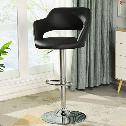 DICTAC Barhocker Höhenverstellbarer Leder Barhocker mit Lehne einzeln Tresenhocker Barstühle für Küche Schwarz Barstuhl Drehbarer Belastbar bis 180kg