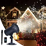 Ejyo Milo Snowfall Projector Light,Snowfall LED Light Projector,Snowflake Lights Projector,Outdoor LED Snowflake Xmas Lights with Control for Holiday Decoration Xmas Valentines Outdoor/Indoor
