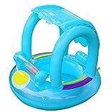 Flotador de natación para bebé con toldo inflable para piscina, flotador de barco, juguete flotante para bebés de 12 a 36 meses azul azul (Blue baby float)