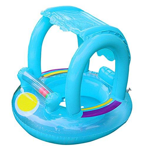 Schwimmsitz für Babys mit aufblasbarem Sonnendach, aus PVC, Schwimm-Spielzeug, zum Aufblasen, mit manueller Pumpe - von Xueliee