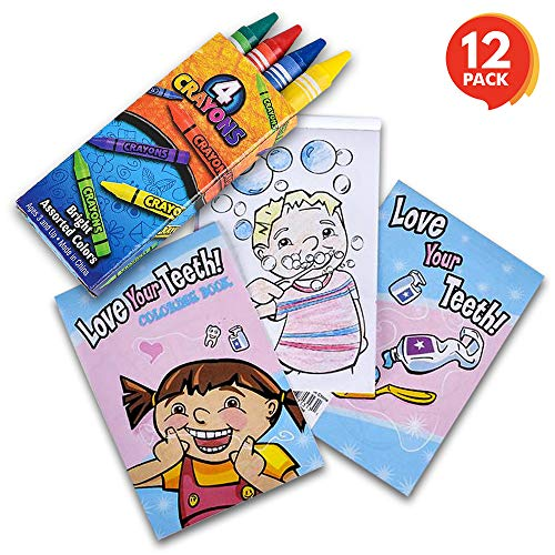 ArtCreativity Dental Coloring Book Kit for Kids - 12 Sets - Every Set Includes 1 Mini Color Book and 4 Crayons - Fun Birthday Party Favors, Sleepover Party Supplies, Great Gift Idea for Boys and Girls