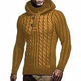 Suéter para Hombre Moda de Invierno Jacquard de Moda Tallas Grandes Suéter con Capucha de Cuello Alto Suéter Informal de Manga Larga Sudaderas con Capucha Chaquetas de suéter XXL