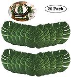 InnoBase 20 Piezas Tropical Palm Leaves Hawaiian Party Decoration Planta Artificial Hojas para Luau Party Jungle Beach Mesa de Fiesta temática Decoraciones 35x29cm