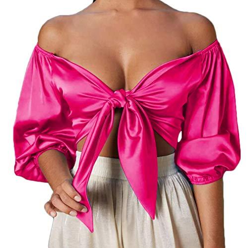 Frauen tr?gerlos schulterfrei gekr?uselt Crop Top Bluse T-Shirt Knoten Rose eine...