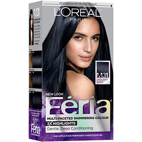 L'Oreal Paris Feria Midnight Collection Multi-Faceted Shimmering Color, Soft Blue Black [M31] 1 ea (Pack of 2)
