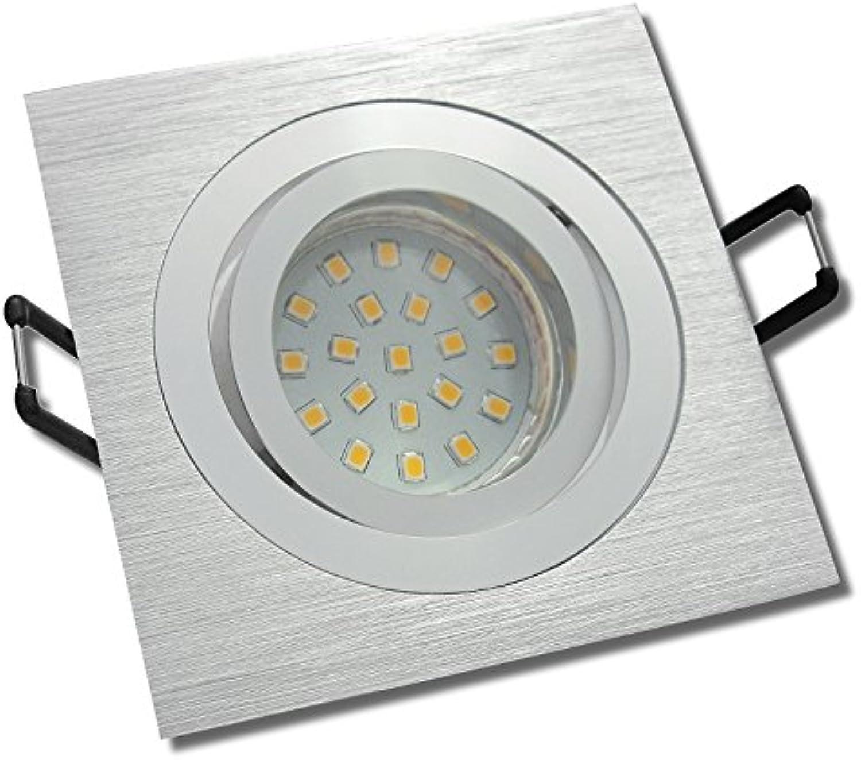 5 Stück SMD LED Einbauleuchte Elisa 230 Volt 3 Watt Schwenkbar Silber Warmwei