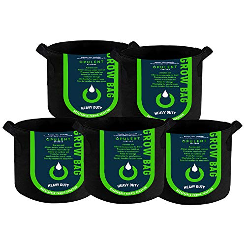 OPULENT SYSTEMS 5-Pack 7 Gallon Grow Bags Heavy Duty Thickened Nonwoven Fabric Containers for Potato/Plant Growing Pots with Handles (Black)