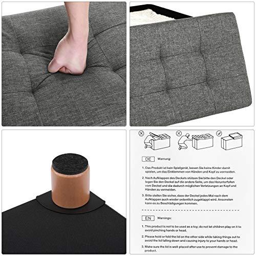 SONGMICS Sitztruhe Sitzhocker Fußhocker mit Stauraum und Deckel mit Holzfüßen, 76 x 38 x 40 cm dunkelgrau LSF16GYZ - 4
