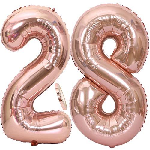 """2 Globos Número 28 Oro Rosa, Globo de Papel Aluminio Gigante Numero 28 Globo 100cm con Cinta 40 """" Globo Inflable de Helio para Decoración de Fiesta de Cumpleaños Fiesta de Graduación"""