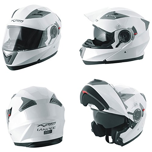 Casco Modulare Apribile Moto Touring Sport Visiera Parasole Bianco L