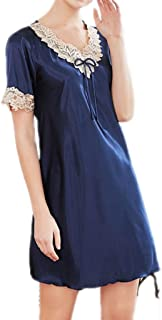 2 pcs, Short-Sleeved Pajamas, Women's Silk Cloth Nightdress, Summer Sexy Nightgown, Casual Home wear, V-Neck Slim Dress, Comfortable and Soft (Color : Blue, Size : M)