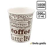 TELEVASO - 1000 uds - Vaso de cartón para café Vending - Capacidad de 200 ml (7 oz) - Desechables y reciclables - Ideal para Bebidas Calientes...