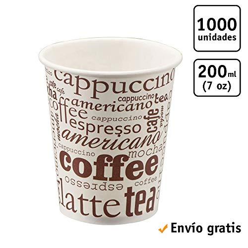 TELEVASO - 1000 uds - Vaso de cartón para café Vending - Capacidad de 200 ml (7 oz) - Desechables y reciclables - Ideal para Bebidas Calientes como café, té, Leche, infusiones