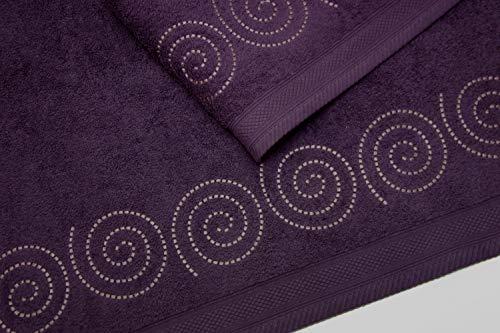 Montse Interiors Set van 2 geborduurde handdoeken 550g Violet Spiral No3