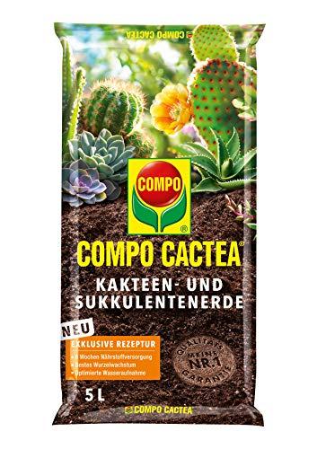COMPO CACTEA Kakteen- und Sukkulentenerde mit 8 Wochen Dünger für alle Kakteenarten und dickblättrige Pflanzen, Kultursubstrat, 5 Liter