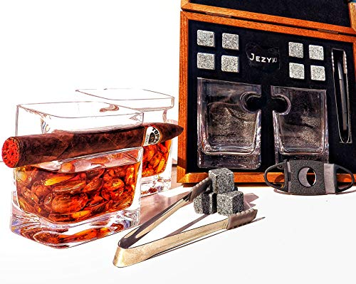 JEZYKI Whiskey Cigar glasses - 2 Old Fashioned Whiskey Glasses, 8 Granite Chilling Rocks, Tongs, Velvet Pouch and Cigar Cutter in elegand box. Best gift set for men, dad, husband, birthday, holiday.