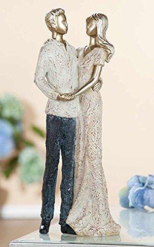 GILDE Poly Figur Paar 2 Stück tanzend antik Gold Weiss blau Creme L = 6 x B = 10 x H = 25,5 cm