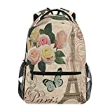 Wamika Retro Floral Butterfly Pattern Backpacks for Women Men, Eiffel Tower Computer Laptop Backpack, Romantic France Paris Casual Book Bag Travel Camping Daypack