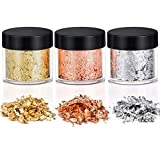 Gold Foil Flakes for Resin, Hisome 15 Grams Gold Leaf Gilding Resin Flakes for Painting Arts, Jewelry Making, Crafts Nails, DIYs, Furniture Decoration (Gold, Silver, Copper Colors)