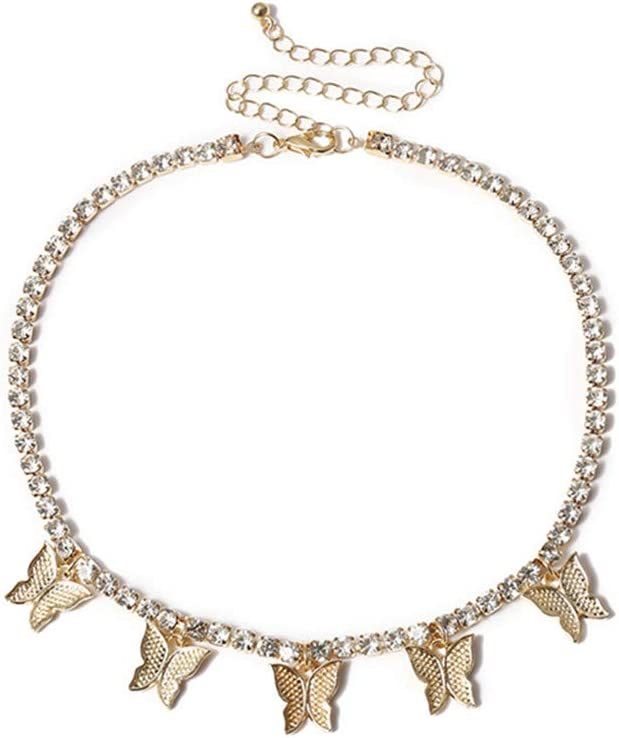 WEILYDF Temperament Rhinestone Butterfly Necklace Tassel Clavicle Chain Collar Charming Lovely Jewelry Gift for Women,Golden