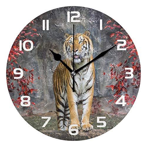 None-brands Dekorative Wanduhr aus Holz mit Tier-Tiger-Motiv, modern, nicht tickend, 30,5 cm