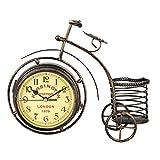 Lsaardth Reloj de Mesa Decorativo Vintage, Reloj analógico de Bicicleta, Reloj Decorativo de Mesa Retro, Reloj de Escritorio de Doble Cara, con Soporte para bolígrafo para decoración del hogar