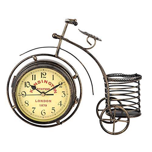 VIFER Reloj de Bicicleta Triciclo Vintage Reloj de Doble Cara Decoración Antigua Portalápices Reloj de Hierro rústico Vintage
