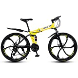 MYRCLMY Variable Speed Folding Fahrrad, 26 Zoll Leicht Faltrad, Erwachsene Mountain Bikes, Doppelaufhebung MTB Bikes, Mountain Trail Bike Stadt Bahn-Fahrrad Anti-Rutsch-Bike,Gelb,24 Speed