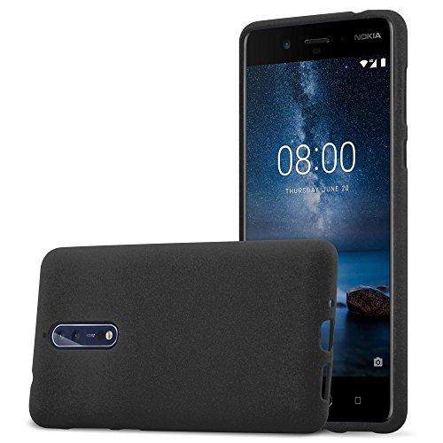 Cadorabo Hülle für Nokia 8 2017 - Hülle in Frost SCHWARZ – Handyhülle aus TPU Silikon im matten Frosted Design - Silikonhülle Schutzhülle Ultra Slim Soft Back Cover Case Bumper