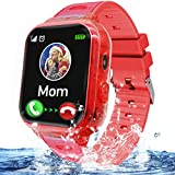 Kids Waterproof Smart Watch Phone Boys Girls with GPS Tracker Two Way Call SOS Flashlight Voice Chat 1.44'' HD Touch Screen Camera Alarm Clock Puzzle Game Cellphone Digital Wrist Watch Birthday (pink)