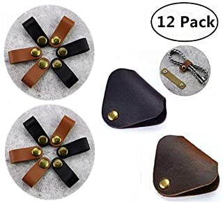 Leather Cable Organizer, Magnolora 12 Pack Snap Button Cord Keeper Desktop Cable Wire Management Headphone Earphone Wrap Winder with Genuine Leather Handmade