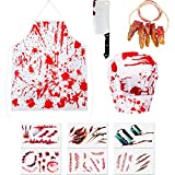 SATINIOR Halloween Bloody Butcher Costume Set Bloody Apron Chef Hat Fake Fingers Fake Butcher Knife Scar Tattoo Sticker for Halloween Party