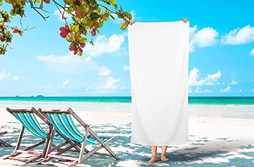 TIQH 600 GSM 100% Zero Twist Cotton Highly Absorbent and Quick Dry Extra Large Soft Beach Towel (36x72 Inches, White)