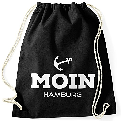 MoonWorks Turnbeutel Moin Hamburg Anker schwarz Unisize