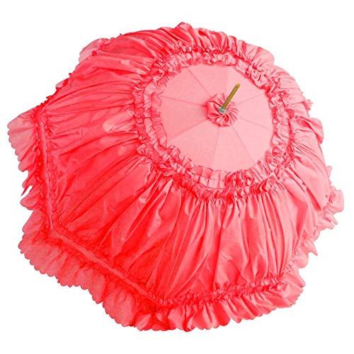 2019 Roter Spitzenschirm Hochzeitsgeschenk Regenschirm Hochzeit Braut Regenschirm Mode Anti-UV, rot (Rot) - LNC#YS