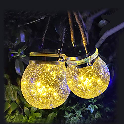 Hanging Solar Lights 2 Pack 30 LED Cracked Glass Ball Light Solar Powered Decorative Warm White Waterproof Outdoor Lanterns with Handle for Garden Yard Patio Lawn Decoration (Warm White)