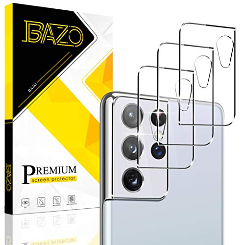 BAZO 3 Pack Tempered Glass Camera Lens Protector for Samsung Galaxy S21 Ultra 5G(6.8 inch, 9H Hardness Back Camera Protector HD Clear [Case Friendly] [Bubble Free]