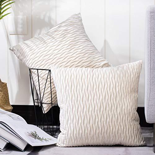 Madizz 2er Set Sanft Plüsch Samt Dekorativ Zierkissenbezüge Luxus Stil Kissenbezug für Sofa für Schlafzimmer Weiß 35x35 cm Quadrat