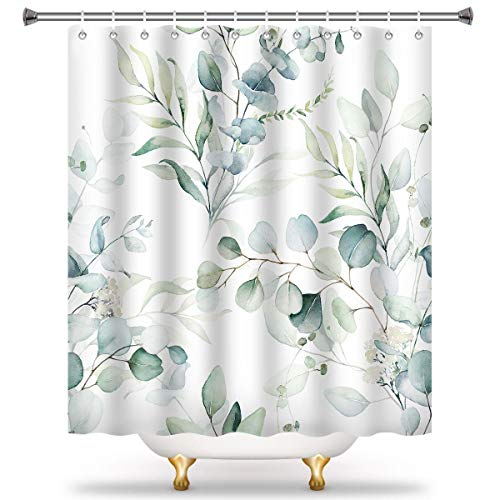 Eucalyptus Leaf Shower Curtain Liner-Botanical Themed Fabric Shower Curtain for Bathroom with 12 Hooks-Art Leaf Watercolor Unique Tub Shower Curtains for Women and Men, 72x72 Inch, White Green