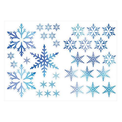 Biijo ウォールステッカー 雪 結晶 壁装飾 壁紙 再剥離可 シール (ブルー)