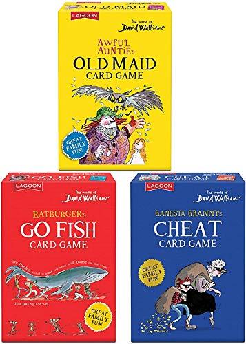 Lagoon Group David Walliams Set 3 Giochi di Carte per Bambini - Gangsta Granny's Cheat - Ratburger's Go Pesce - Awful Auntie's Old Maid Giochi di Carte