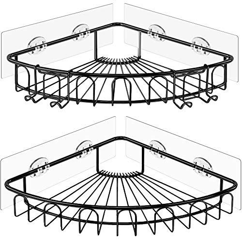 Orimade Adhesivo Estantería de Esquina para Ducha Baño Triangular Organizador Acero Inoxidable Sus 304 Sin Perforar - Pack de 2(Negro)