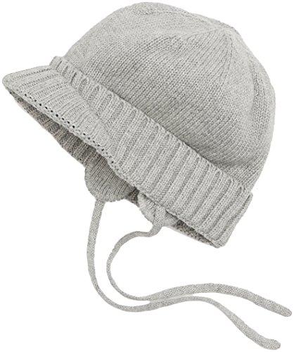 Sterntaler Unisex Strickmütze mit Schirm, Ohrenklappen und Bindebändern, Alter: ab 6-9 Monate, Größe: 45, Silber Melange