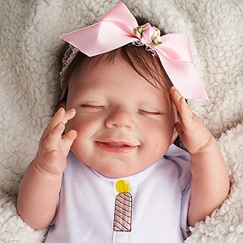 JIZHI Reborn Baby Dolls Soft Full Body Vinyl [Washable & Poseable] 20 Inch Realistic Newborn Baby Dolls Lifelike Sleeping Smile Baby Girl Real Life Reborn Dolls Gift Set Toys for Girls Age 3+