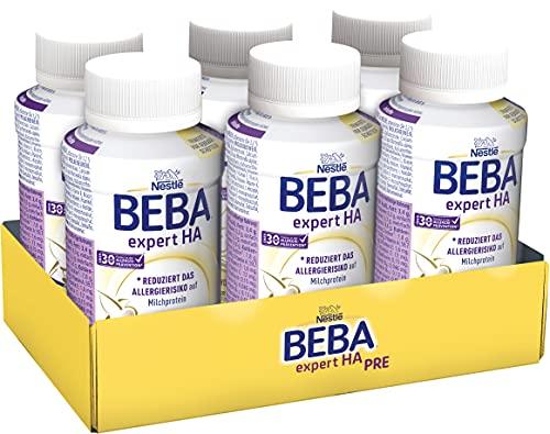 Nestlé BEBA EXPERT HA PRE Hydrolysierte Anfangsnahrung von Geburt an, Pre Milch trinkfertig für Babys mit erhöhtem Allergie-Risiko, 6er Pack (6 x 200ml)